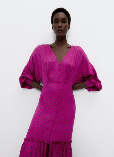 Сиреневое платье в горошек с широкими рукавами Uterqüe