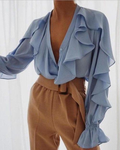 Шифоновые блузки с рюшами и оборками в моде будущим летом
