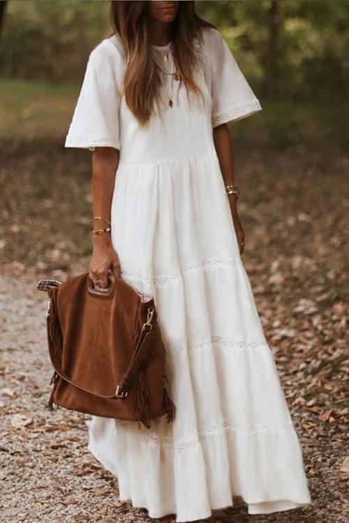 Белое платье макси оверсайз