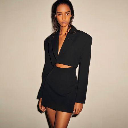 Черный костюм с юбкой Zara