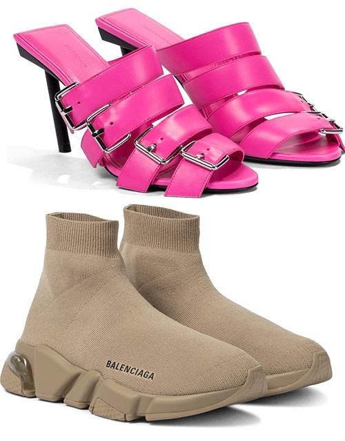 Женская обувь от марки Balenciaga. Сникерсы стоят €555, сандалии - €695