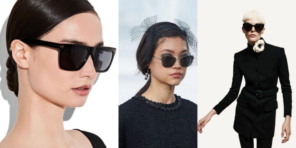 модные черные очки весна - лето 2021