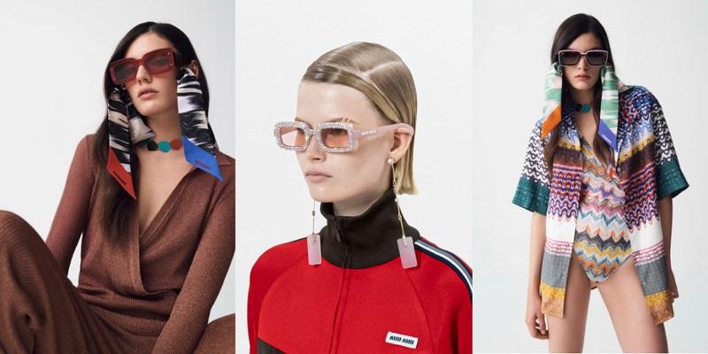 модные очки со стразами и платками весна-лето 2021
