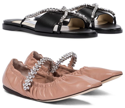 Женская обувь Jimmy Choo. Шлепанцы - € 695, балетки - € 650