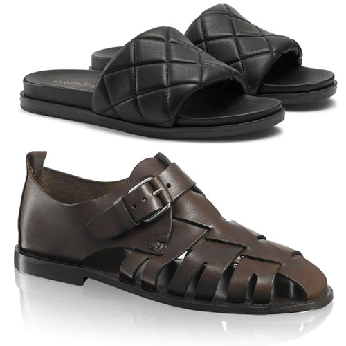 Женская и мужская обувь Russel & Bromley. Шлепанцы - £125, сандалии - £175