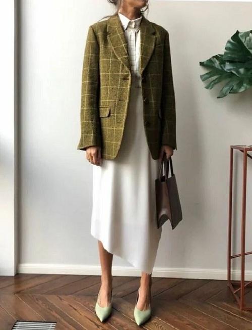 Платье в сочетании с жакетом для работы