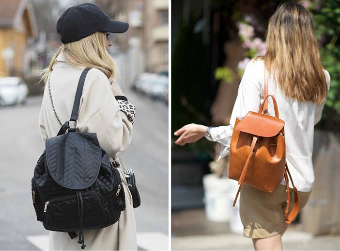 Городские модницы носят рюкзаки с повседневной одеждой