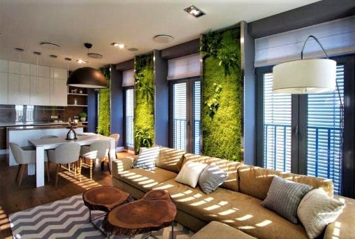 Квартира в эко-стиле: обои с изображением тропической растительности