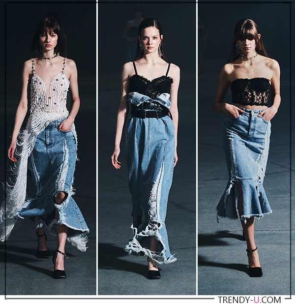 Модные джинсовые юбки с оборками от Rokh FW 2021
