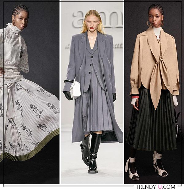 Плиссированные юбки из коллекций Ami (посередине) и Phillip Lim FW 2021-22