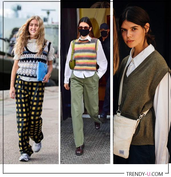 """Бабушкины"" жилетки на городских модницах. Кендалл Дженнер, Эмили Синдлев. Фото справа - © Jonathan Daniel Pryce"
