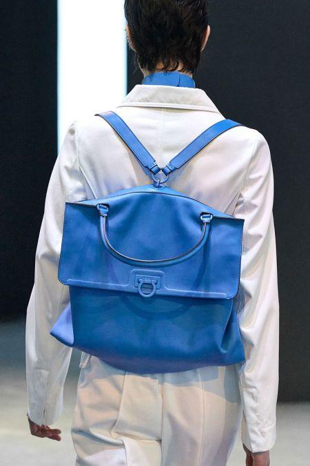 Голубой объемный рюкзак Salvatore Ferragamo