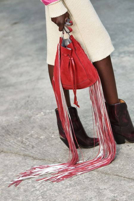 Красная сумка-кисет с длинной бахромой Isabel Marant