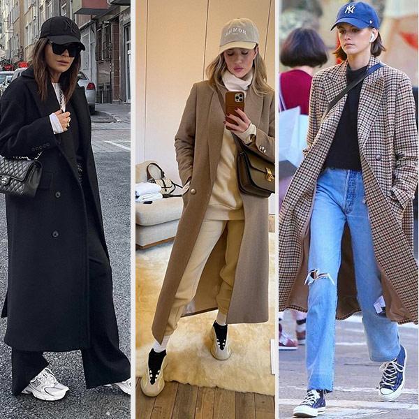 Кепка, пальто, обувь в спортивном стиле