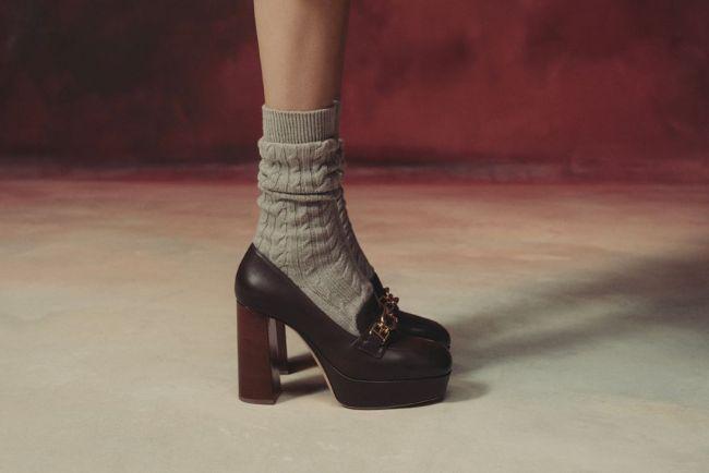 Туфли-лоферы на каблуке и платформе