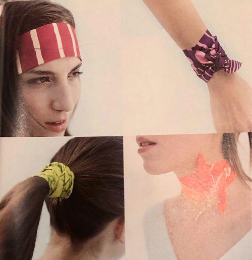 Один из первых каталогов Hermès, где представлены твилли и примеры как их носить