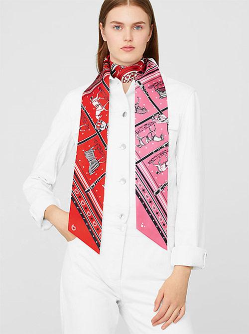 Один из вариантов ношения макси-твилли Гермес