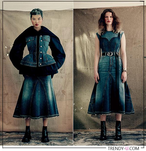 Модная джинсовая юбка и жилет и сарафан из денима осень-зима 2021-2022