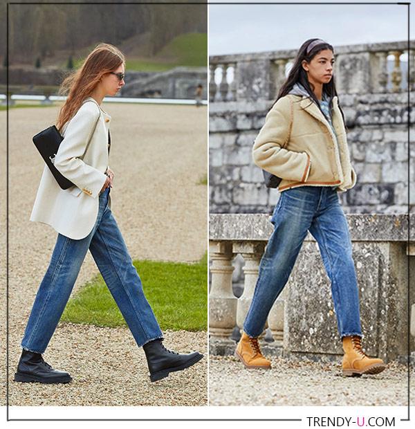Джинсы в сочетании с пиджаком и короткой дубленкой