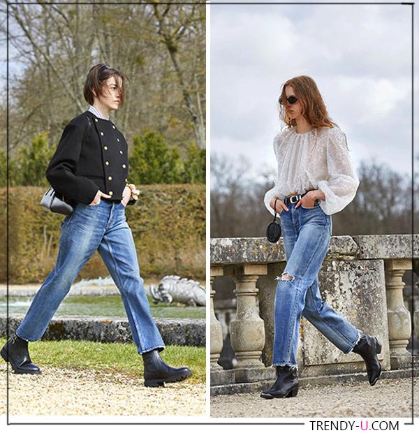 Джинсы в сочетании с двубортным жакетом в стиле Chanel и в сочетании с кружевной блузкой