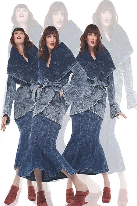 Джинсовый костюм с юбкой гаде