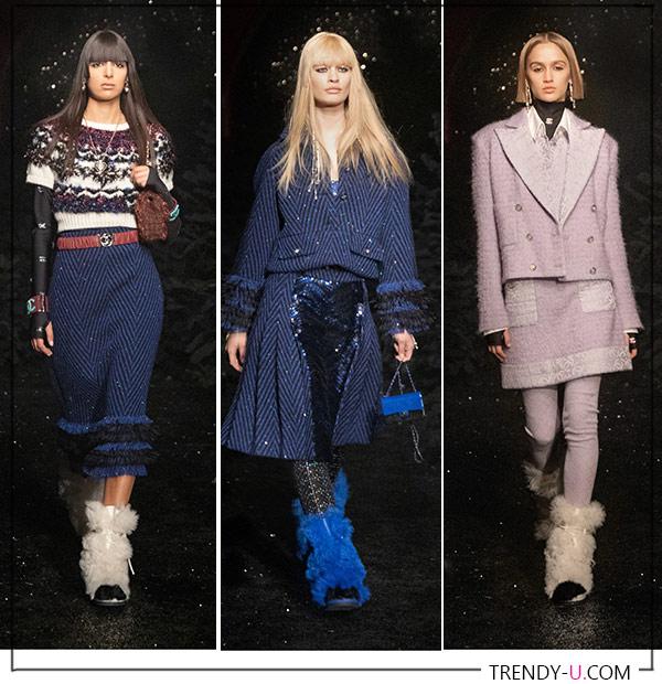 Меховые сапоги из коллекции осень-зима 2021 Chanel