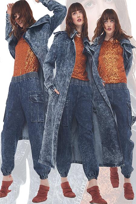 Джинсовые тренчи и джинсы в спортивном стиле от Norma Kamali 2021-2022