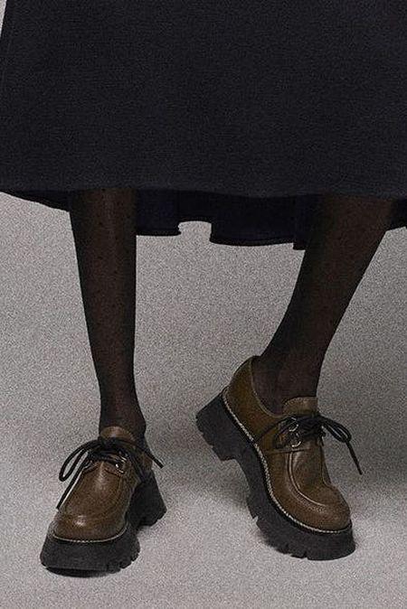 Модная обувь осень-зима 2021 - лоферы на широкой подошве
