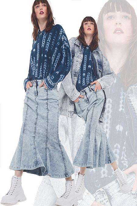 Джинсовая рубашка в сочетании с юбкой