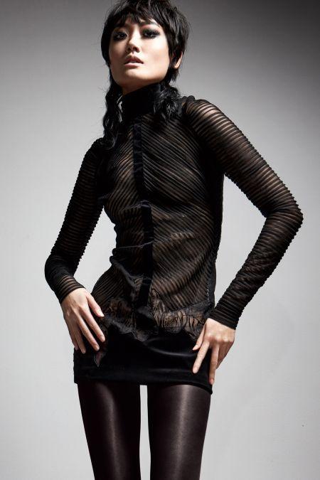 Прозрачное короткое черное платье с длинным рукавом Tom Ford