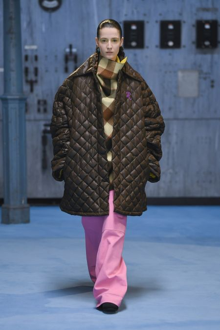 Стеганая коричневая куртка оверсайз Raf Simons