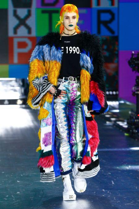 Длинная шуба в стиле пэчворк Dolce & Gabbana