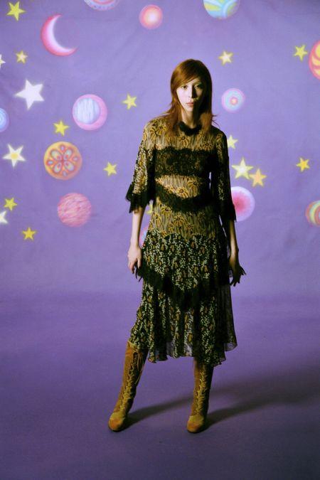 Платье в цветочный принт с оборками. Коллекция осень-зима 2021-2022 Anna Sui