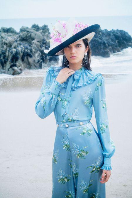 Голубое платье в ретро стиле с оборками Rodarte