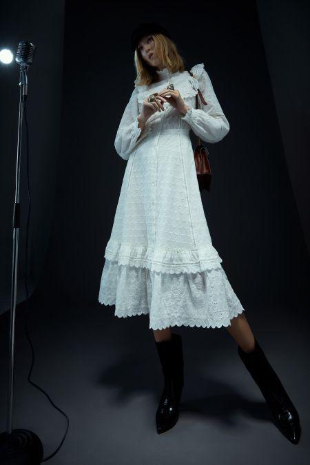 Белое платье миди с оборками и рюшами Temperley London