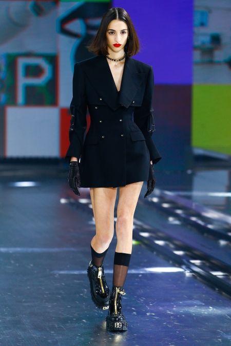 Черный короткий двубортный жакет Dolce & Gabbana