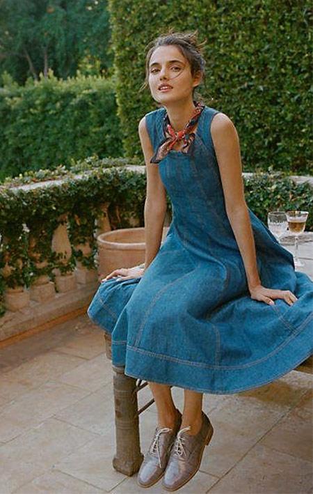 Джинсовое платье и твилли