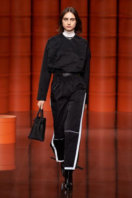 Черные спортивные штаны с белыми лампасами Hermès
