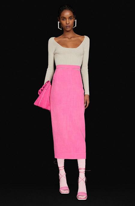 Белый топ и розовая юбка: гламурный образ