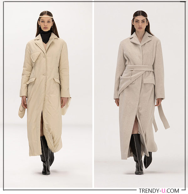 Пальто бежевого и пудрового цветов от Bevza FW 2021-22