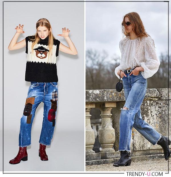Модные джинсы из коллекций Dsquared и Celine осень-зима 2021