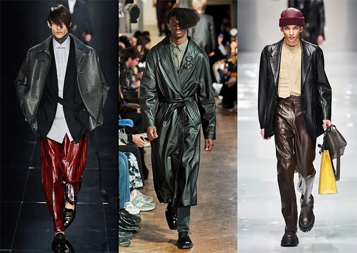 Кожаные пиджаки и плащ из коллекций Dunhill, Martin Rose and Fendi для осени 2021