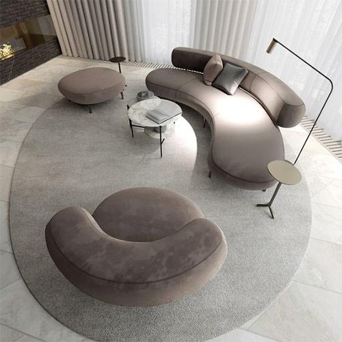Круглая мебель в интерьере гостиной