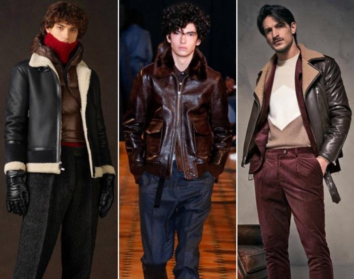 Мужские кожаные куртки осень-зима 2021-2022