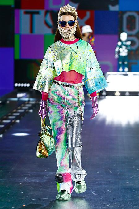 Мятные кроссовки с металлическим блеском Dolce & Gabbana