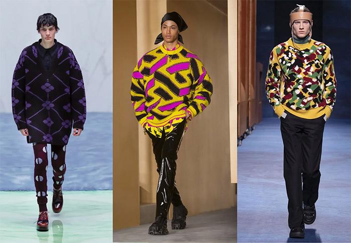 Модная мужская одежда с геометрическим и абстрактным принтом в коллекциях Prada, Versace and Dior 2021-2022