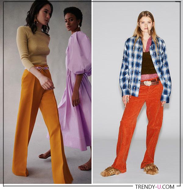 Оранжевые брюки от Oscar de la Renta Dsquared FW 2021