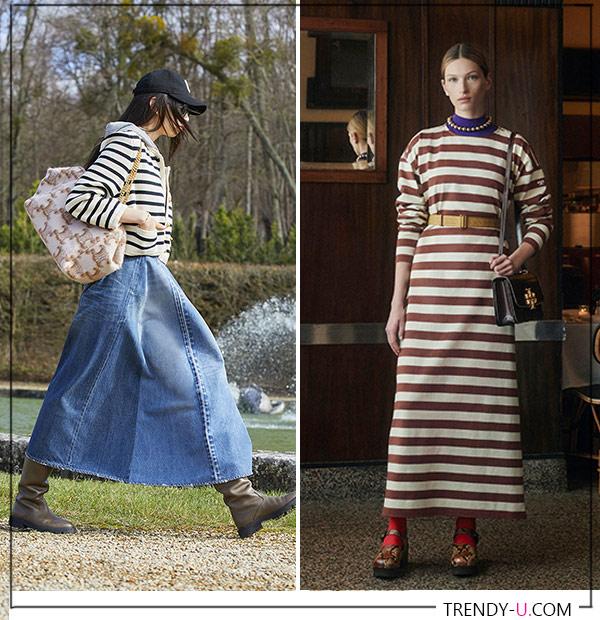 Куртка и платье в горизонтальную полоску, коллекции Celine и Tory Burch
