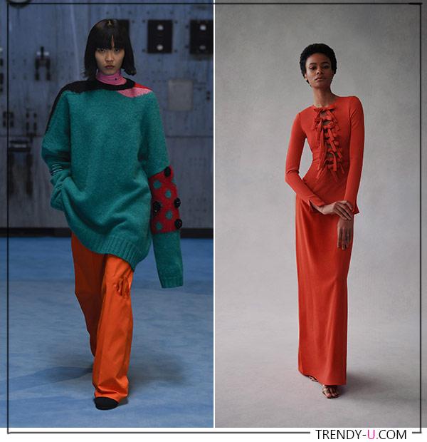Оранжевые брюки и платье из коллекций Raf Simons Oscar de la Renta