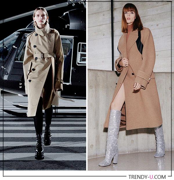Бежевый тренч и пальто Sacai Victoria Beckham 2021-2022